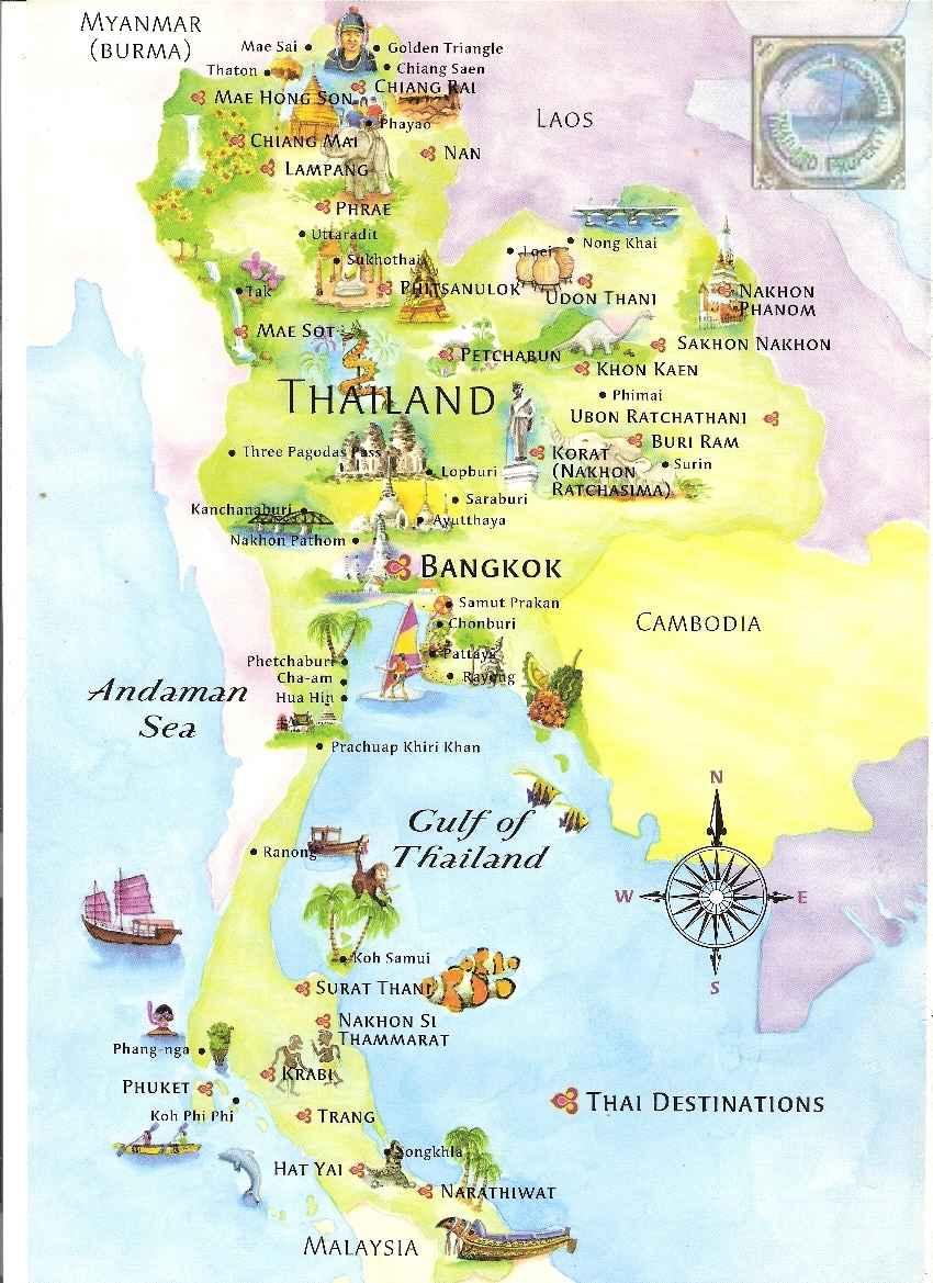 Kort Over Thailand Thailand Landkort Chaam Org